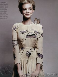 Carey Mulligan, whom I love and adore, is wearing a car-print dress and has a tiny chipmunk on her shoulder. And now I love her more.