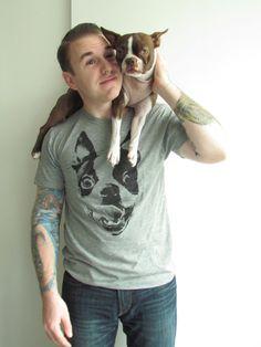 Boston Terrier Heather Grey Graphic Shirt