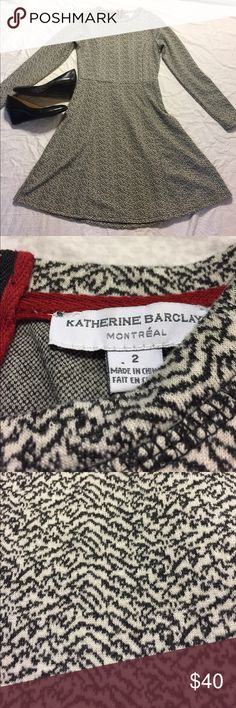 Katherine Barclay Long Sleeve Dress Katherine Barclay black and white long sleeve dress. Great condition and perfect for the fall and winter! Pet free, smoke free home! Open to offers! Katherine Barclay Dresses Long Sleeve