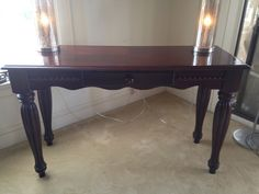 ON HOLD $45 Sophisticated cherry wood console sofa table with one drawer.Carved accents, trim legs and classic style. Single drawer.