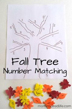 Recognition: Fall Tree Number Matching Fall math activity for preschool. Practice number identification with fall leaves.Fall math activity for preschool. Practice number identification with fall leaves. Numbers Preschool, Preschool Lessons, Preschool Learning, Classroom Activities, Preschool Crafts, Learning Activities, Kids Crafts, Preschool Fall Songs, Halloween Preschool Activities