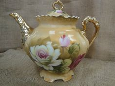 Lefton Brown Heritage Teapot with Pink Roses & Gold Accents NE 3112