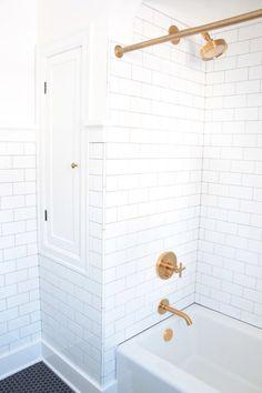 9 Astounding Cool Tips: Galley Bathroom Remodel Range Hoods guest bathroom remodel curtain rods. White Bathroom Tiles, Bathroom Floor Tiles, Wood Bathroom, White Tiles, Bathroom Ideas, Bathroom Cabinets, Small Bathroom, Restroom Ideas, Bathroom Plumbing
