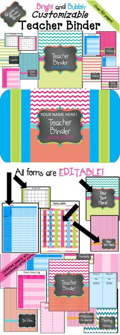 """New """"Bright and Bubbly"""" fully EDITABLE Teacher Binder! (2014-2015)"""