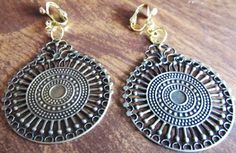 1 1/2 Gold Plated Round Light Disk Handcrafted ClipOn by ADKOR, $5.75