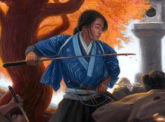 """Doji Makoto, Crane Clan Champion,"" by Drew Baker"