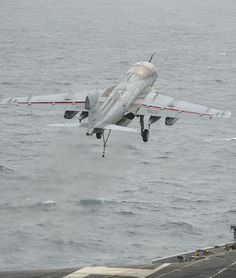 """ARABIAN SEA (Aug. 30, 2013) An EA-6B Prowler assigned to the """"Gray Wolves"""" of Electronic Attack Squadron (VAQ) 142 launches off the flight deck of the aircraft carrier USS Nimitz (CVN 68). Nimitz Strike Group is deployed to the U.S. 5th Fleet area of responsibility conducting maritime security operations and theater security cooperation efforts. (U.S. Navy photo by Mass Communication Specialist Seaman Apprentice Kelly M. Agee/ Released)"""