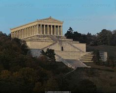 """Klenze,Leo von  """"Walhalla"""", a name taken from the Teutonic seat of gods and heroes, is another romantic dream of Bavarian king Ludwig II. A copy of the Parthenon, the Bavarian Walhalla south of Regensburg houses busts and memorial tablets of famous Germans.   Walhalla-temple, Bavaria,Regensburg, Germany"""