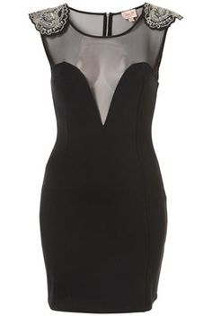 Black Embellished Shoulder Bodycon Dress By Dress Up Topshop** - New In This Week - New In - Topshop USA - StyleSays