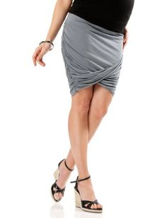 A Pea in the Pod Collection: Under Belly Knee Length Drape Front Maternity Skirt $39.99
