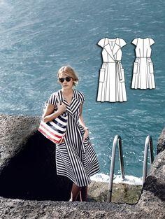 Lapel Wrap Dress 04/2015 #121 http://www.burdastyle.com/pattern_store/patterns/Lapel-Wrap-Dress-042015?utm_source=BurdaStyle&utm_medium=bs&utm_campaign=bsttbl230315neartheseacollection-121