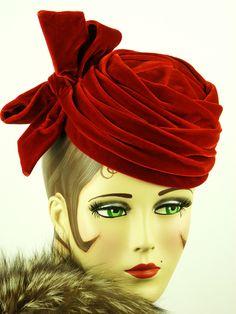 VINTAGE HAT 1950s SCARLET RED RICH VELVET PLEATED PILLBOX w BIG BOW, STUNNING! | eBay