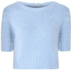 Light Blue Cropped Fluffy Jumper ($39) ❤ liked on Polyvore featuring tops, sweaters, shirts, crop tops, blue, zipper shirt, short sleeve crop top, blue jumper, cropped tops and short-sleeve shirt