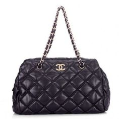 Chanel Cambon 35615 Coffee Lambskin Leather Shoulder Bag