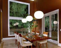 Dining Room, Cool Globe Pendant Lamps For Glow Dining Room Lighting Ideas  Over Modern Mirrored Wood Table ~ Marvelous Designs Of Dining Room Lightings