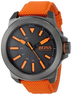 BOSS Orange Men's 1513010 New York Stainless Steel Watch with Orange Woven Band: A woven strap in orange holds a masculine gray case on this Boss Orange watch from Hugo Boss. Black Stainless Steel, Stainless Steel Watch, Seiko, Daniel Wellington, Nylons, Cool Watches, Watches For Men, Montres Hugo Boss, Hugo Boss Watches