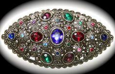 "Vintage Victorian Brooch Signed NEGW Fruit Salad Rhinestones Filigree Floral Silver Metal BIG 3"""