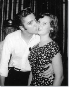 August, 1956. Clay County resident Kathy Bray is one of the lucky ones who got a kiss. She was Kathy Campbell, a 15-year-old ninth-grader. After the concert, Kathy said a photographer invited them to go backstage and meet Elvis. 'We went back there and met him', she said. 'He just said hello and we posed for the picture. You can tell from the picture that he was more concerned about being photographed than kissing me. But I didn't wash my cheek for over a week'.
