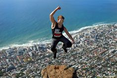 Alessio Bariviera took a death-defying leap into the air from Lion's Head, situated close to Table Mountain in South Africa