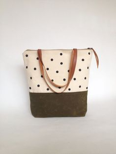 Large zippered Waxed Canvas Tote hand painted dotted canvas Brown Leather Straps Handmade Shoulder Tote Bag on Etsy, $85.00