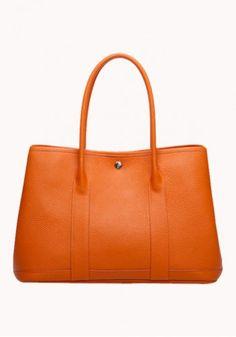 Trisha Large Tote In Leather Orange