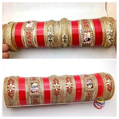 Personalized Punjabi Dulhan Chuda With Name And Photo wedding Chuda for your weddign with your name. Wedding Chura, Bridal Chuda, Bridal Bangles, Indian Gowns, Ethnic Wear Designer, Indian Wedding Outfits, Makeup Swatches, Bangle Set, Boho Gypsy