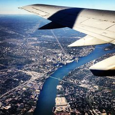 Arial view over Detroit