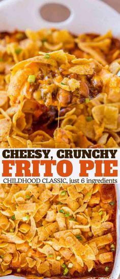 Cheesy Crunchy Frito Pie with ground beef, ranch style beans, cheese and enchilada sauce baked with crispy Fritos on top is a childhood favorite! | #fritos #chips #beef #casserole #dinnerthendessert #easy #kidfriendly