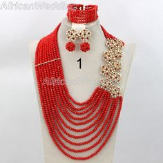 Red Gorgeous Crystal Beads Necklace Set,African Wedding Beaded Jewelry,Nigerian Beads Necklace Set,African Wedding Jewelry Set.$59.9
