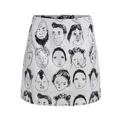 Black White Portrait Print Bodycon Skirt (93 NOK) ❤ liked on Polyvore featuring skirts, bottoms, print skirt, patterned skirts, white and black skirt, body con skirt and black and white print skirt