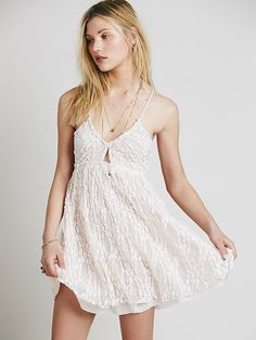 e20d0a54e7a Free People Intimately Nicolette Stretch Lace Babydoll Slip Dress Pink M