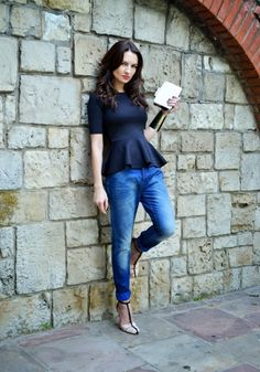 Casual fridays :)? Peplum and bf jeans
