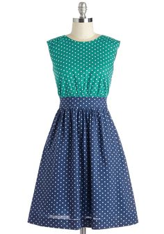 Too Much Fun Dress in Teal Dots. If overloading on fun were such a thing, we'd say go all out in this polka-dotted dress from hard-to-find British brand Emily and Fin!  #modcloth