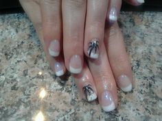 French with palm tree on ring finger!  Get married on a beach?  perfect nails 4 that!!