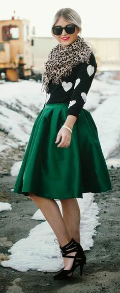 Green Midi Skirt, Heart Shirt & Leopard Print