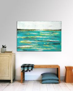 Abstract painting  water pond  Acrylic painting  by RonaldHunter, $299.00