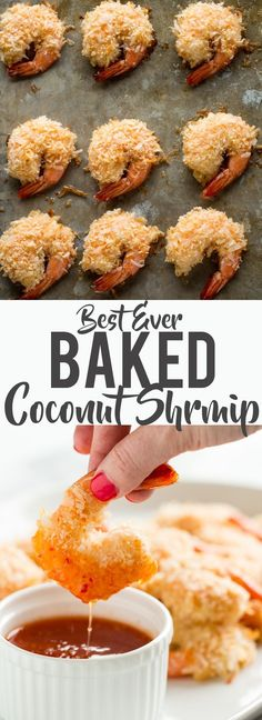 These Baked Coconut Shrimp are golden, crispy and full of flavor. You won't even need a dipping sauce! These are the BEST baked coconut shrimp I have ever made! How to make coconut shrimp Baked coconut shrimp skinny coconut shrimp Baked Coconut Shrimp, Coconut Shrimp Recipes, Fish Recipes, Seafood Recipes, Appetizer Recipes, Dinner Recipes, Cooking Recipes, Healthy Recipes, Shrimp Appetizers