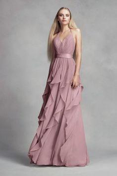 Chiffon Bridesmaid Dress with Cascading Skirt VW360326
