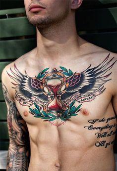 Wings chest tattoo mens color tattoo 2015 chest tattoos for guys, chest piece tattoo mens Tattoos Masculinas, Trendy Tattoos, Body Art Tattoos, Sleeve Tattoos, Tattoos For Women, Mens Tattoos, Tattoo Art, Tatoos, Star Tattoos
