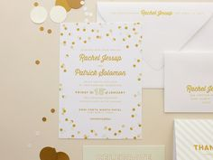 Cheers |  Confetti Wedding Invitation, Modern Invites, Mint and Gold Invitation SAMPLE on Etsy, $5.00