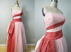 1950s emma domb dress/ 50s party dress/ pink tulle taffeta/ ball gown/ small on Etsy