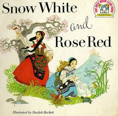 snow white and rose red cover, sheilah beckett illustration White Roses, Red Roses, Fairy Tales For Kids, Vintage Fairies, Fairytale Art, Little Golden Books, Vintage Children's Books, Children's Book Illustration, Book Illustrations
