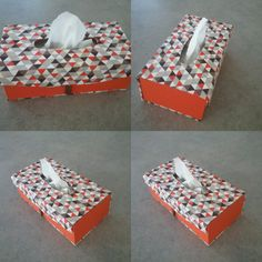 Jeanine de Montpellier à confectionné cette boîtes à mouchoirs rectangulaire aimanté, cette boîte est recouverte d un tissu géométrique et d'une toile enduite orange de chez Omar Idéal Tissu Lunel Un cadeau sympas pour les fêtes !  Bravo Gisèle! Fatima Bravo, Montpellier, Container, Gift Wrapping, Orange, Gifts, Diy, Home, Cartonnage