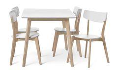 Nätt matgrupp i trä med vitlackerad sits och bordsskiva som gör det enkelt att torka av med en fuktig trasa. Underredet på både stolar och bord är i vitpigmenterat trä och ger matgruppen en skandinavisk känsla. Inklusive Hanna stolar.