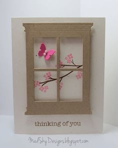 cute butterfly card using memory box's madison window die
