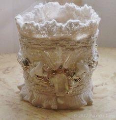 Hand Stitched Fabric Cuff Goddess Cuff Honeymoon Lace Beaded Fabric Bracelet.  via Etsy.