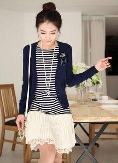 Ladylike Long Sleeve Korean Short Jackets Blue