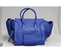 Celine Royal Blue Leather Small Phantom Luggage Bag