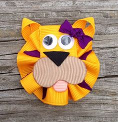 Gold and Purple LSU Tiger Ribbon Sculpture Hair Clip - Toddler Hair Bows - Zoo Animal Hair Clips... Free Shipping Promo on Etsy, $4.50