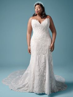 Plus Size Sheath Wedding Dress  Favorite  Additional coverage to our Erin Marie gown  Sequined lace motifs over textured tulle  Sweetheart neckline  Covered button over zipper and inner elastic closure  Also available with sheer back bodice (Erin Marie)  Tulle jacket with lace appliqués sold separately; Available standard length scalloped train (Erin Lynette)  Available in plus size Plus Size Bridal Dresses, Plus Size Wedding Gowns, Plus Dresses, Colored Wedding Dresses, Dream Wedding Dresses, Wedding Outfits, Fit N Flare, Prom Boutiques, Sheath Wedding Gown